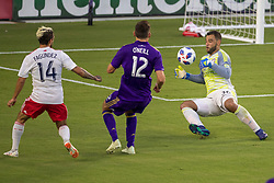 August 4, 2018 - Orlando, FL, U.S. - ORLANDO, FL - AUGUST 04: Orlando City goalkeeper Earl Edwards Jr (36) saves a shot on goal from New England Revolution forward Diego Fagundez (14) during the soccer match between the Orlando City Lions and the New England Revolution on August 4, 2018 at Orlando City Stadium in Orlando FL. (Photo by Joe Petro/Icon Sportswire) (Credit Image: © Joe Petro/Icon SMI via ZUMA Press)