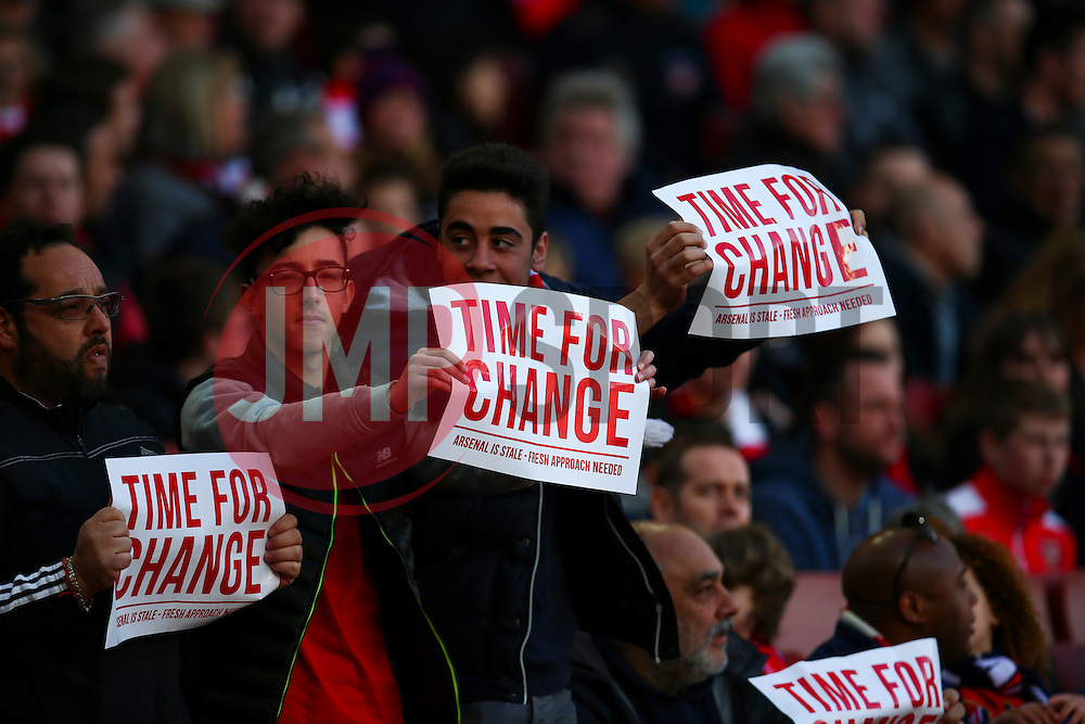 "Arsenal fans protest ""Time for Change"" - Mandatory byline: Jason Brown/JMP - 07966386802 - 30/04/2016 - FOOTBALL - Emirates Stadium - London, England - Arsenal v Norwich City - Barclays Premier League"