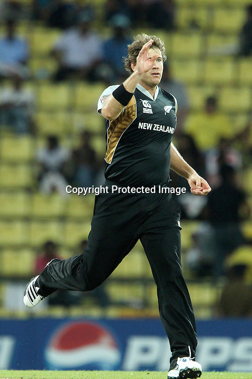 Jacob Oram reacts after a wicket opportunity was missed during the ICC World Twenty20 Pool match between New Zealand and Bangladesh held at the  Pallekele Stadium in Kandy, Sri Lanka on the 21st September 2012<br /> <br /> Photo by Ron Gaunt/SPORTZPICS/PHOTOSPORT
