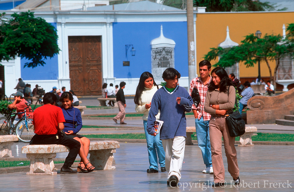 PERU, TRUJILLO a colonial city on Peru's north coast; students gathering in the Plaza de Armas