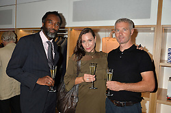 Left to right, PETER OGUNSALU, LINDA HUGO and DECLAN O'BRIEN at the opening of No. 8 Dover Street, the new Aston Martin Art of Living boutique on 1st September 2016.