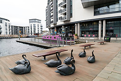 Sculptures at Fountainbridge canal-side property development in Edinburgh, Scotland, United Kingdom.