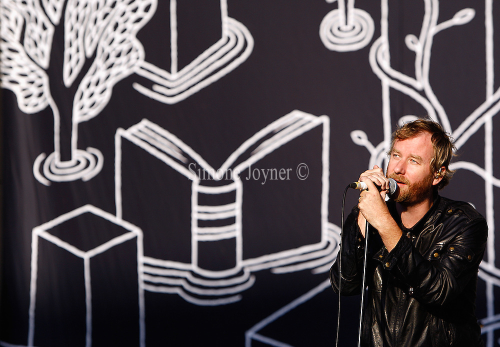 Matt Berninger of The National performs live on the Main Stage during day two of Reading Festival 2011 on August 27, 2011 in Reading, England.  (Photo by Simone Joyner)