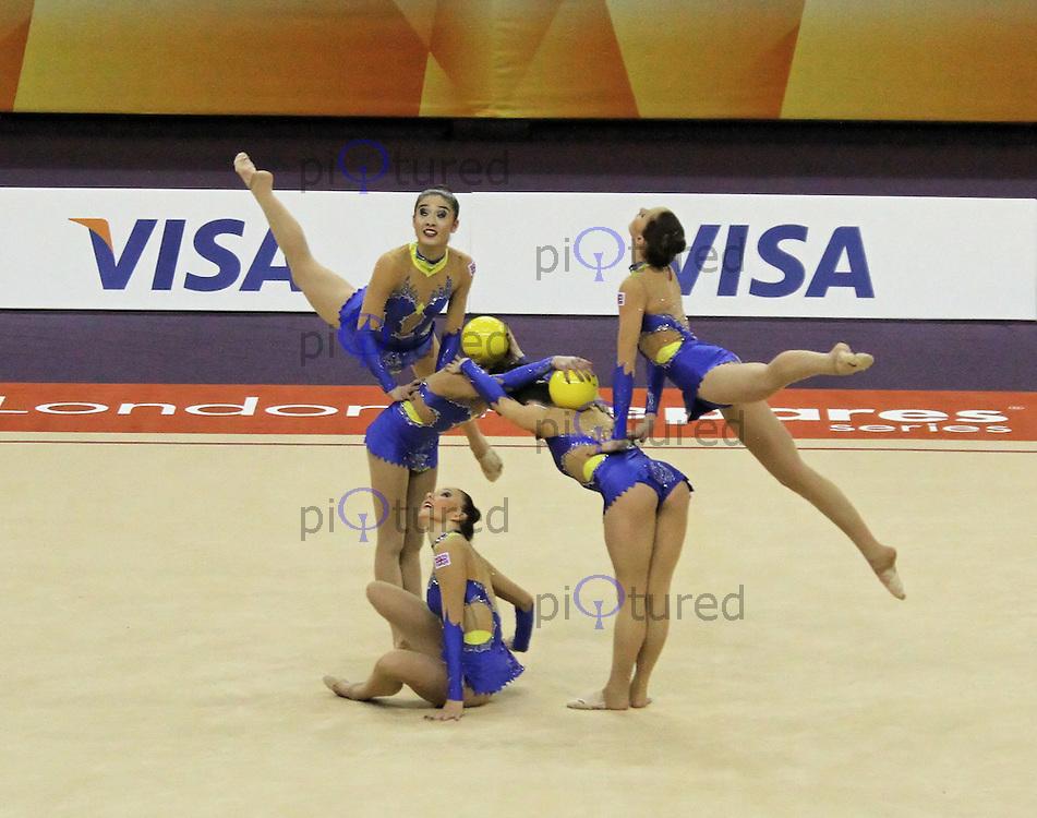 LONDON - JANUARY 18:  Visa International Rhythmic Gymnastics - 5 Balls Group All Round Final - London 2012 Olympics Test Event at the North Greenwich Arena, London, UK on January 18, 2012. (Photo by Richard Goldschmidt)