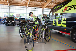 Ane Santesteban (ESP) of Ale-Cipollini Cycling Team picks up her bike to roll to the start of Stage 3 of the Emakumeen Bira - a 77.6 km road race, starting and finishing in Antzuola on May 19, 2017, in Basque Country, Spain. (Photo by Balint Hamvas/Velofocus)
