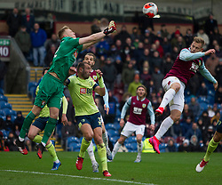 Aaron Ramsdale of Bournemouth ( L) punches clear - Mandatory by-line: Jack Phillips/JMP - 22/02/2020 - FOOTBALL - Turf Moor - Burnley, England - Burnley v Bournemouth - English Premier League