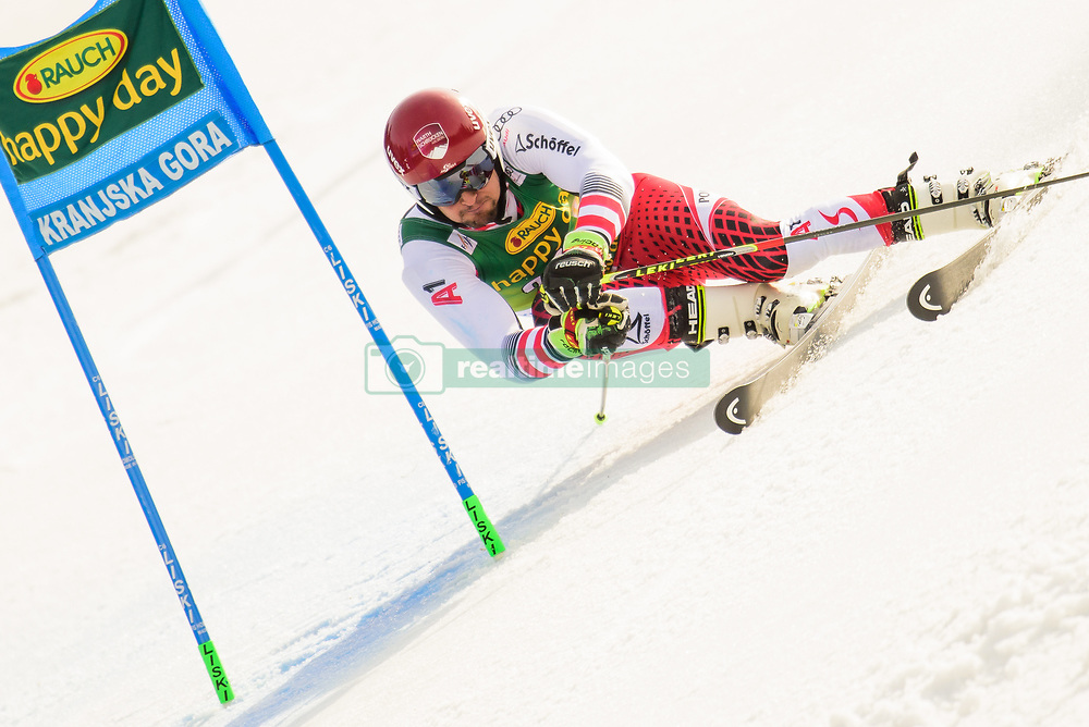 March 9, 2019 - Kranjska Gora, Kranjska Gora, Slovenia - Johannes Strolz of Austria in action during Audi FIS Ski World Cup Vitranc on March 8, 2019 in Kranjska Gora, Slovenia. (Credit Image: © Rok Rakun/Pacific Press via ZUMA Wire)