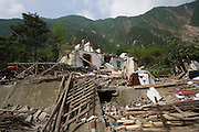 Homes demolished by an earthquake in China's western Sichuan province.