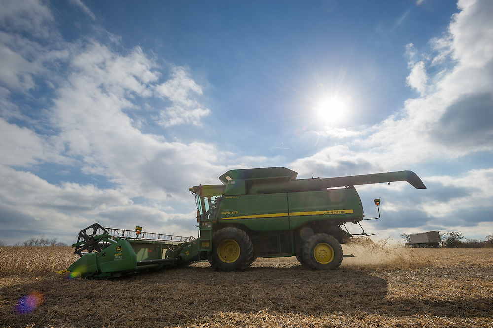 Combine harvesting soybeans in Jarrettsville, Maryland, USA