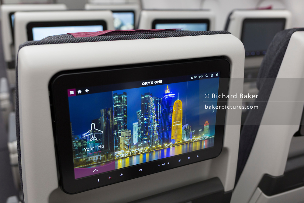 Business Class Screens in a Qatar Airways Airbus A350-1000 at the Farnborough Airshow, on 18th July 2018, in Farnborough, England.