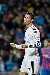 15.03.2015, Estadio Santiago Bernabeu, Madrid, ESP, Primera Division, Real Madrid vs UD Levante, 27. Runde, im Bild Real Madrid´s Cristiano Ronaldo complains // during the Spanish Primera Division 27th round match between Real Madrid CF and UD Levante at the Estadio Santiago Bernabeu in Madrid, Spain on 2015/03/15. EXPA Pictures © 2015, PhotoCredit: EXPA/ Alterphotos/ Victor Blanco<br /> <br /> *****ATTENTION - OUT of ESP, SUI*****
