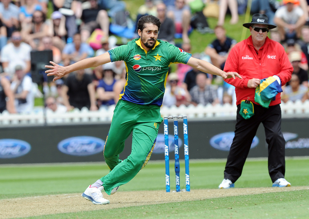 Pakistan's Anwar Ali eacts while bowling against New Zealand in the 1st ODI International Cricket match at Basin Reserve, Wellington, New Zealand, Monday, January 25, 2016. Credit:SNPA / Ross Setford