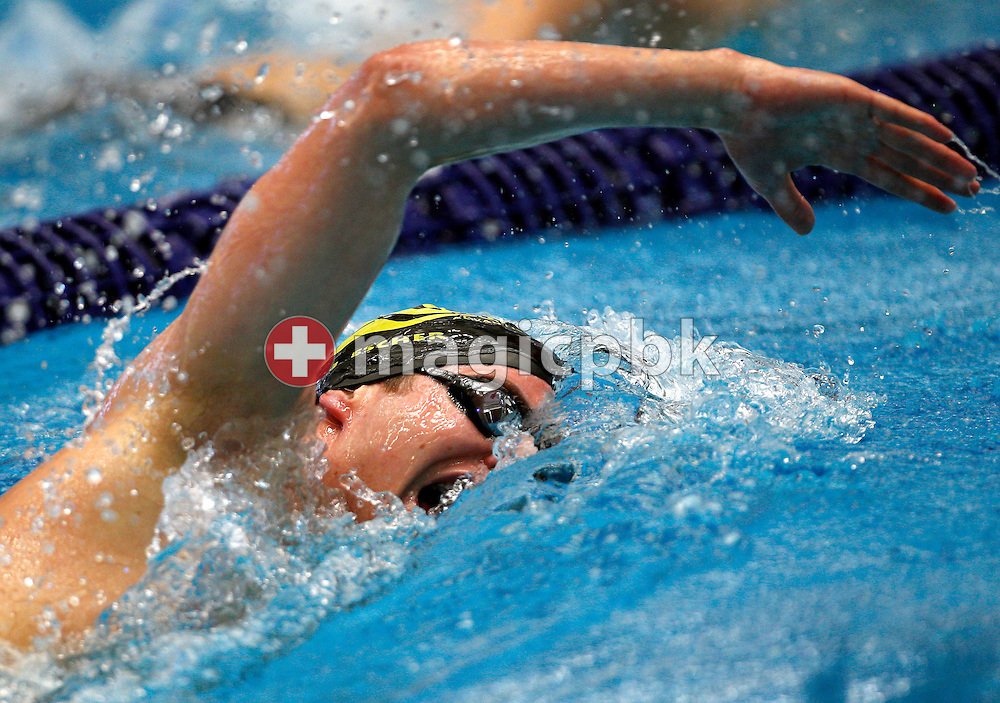 AARE's Joel ESCHER of Switzerland competes in the men's 1500m Freestyle during the Swiss Swimming Championships at the Piscine des Vernets in Geneva, Switzerland, Saturday, April 2, 2011. (Photo by Patrick B. Kraemer / MAGICPBK)