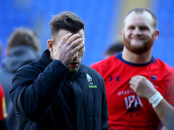 Francois Hougaard and Kurt Haupt of Worcester Warriors cut dejected figures after defeat to London Irish - Mandatory by-line: Robbie Stephenson/JMP - 25/02/2018 - RUGBY - Madejski Stadium - Reading, England - London Irish v Worcester Warriors  - Aviva Premiership