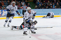 KELOWNA, CANADA - SEPTEMBER 28:  Brandon Magee #18 of the Victoria Royals looks for the pass at the Kelowna Rockets on September 28, 2013 at Prospera Place in Kelowna, British Columbia, Canada (Photo by Marissa Baecker/Shoot the Breeze) *** Local Caption ***