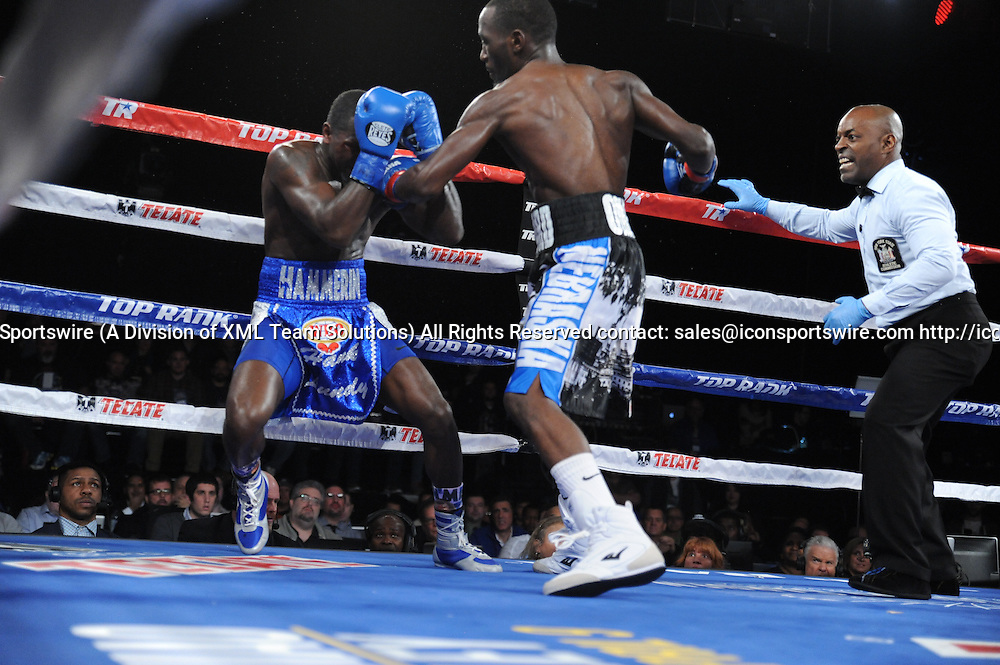 February 27, 2016:  Terrance Crawford retains the WBO Lightweight title by TKO of Round 5, while in action against Henry Lundy during a boxing match at the Theater at Madison Square Garden in New York, New York