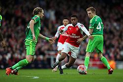 Alex Iwobi of Arsenal gets past Duncan Watmore of Sunderland - Mandatory byline: Jason Brown/JMP - 07966386802 - 09/01/2016 - FOOTBALL - Emirates Stadium - London, England - Arsenal v Sunderland - The Emirates FA Cup
