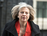 © Licensed to London News Pictures. 18/03/2015. Westminster, UK. Theresa May, Home Secretary, leaves Downing Street on the day of the spring budget 2015. Photo credit : Stephen Simpson/LNP