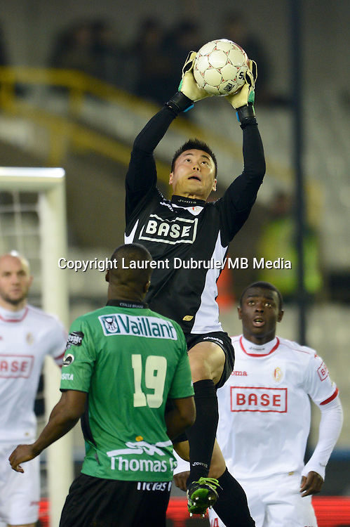 Japan keeper Eiji Kawashima in action for Belgian Club Standard Liege in the Belgian Pro League.<br /> Standard Liege beat Cercle Brugge 1-0