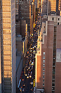 New York , elevated view of  times square skyline at sunset and 40 street in midtown