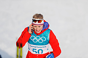 PYEONGCHANG-GUN, SOUTH KOREA - FEBRUARY 15: Ragnhild Haga of Norway speaks on the phone after finish during the women's 10k free technique Cross Country competition at Alpensia Cross-Country Centre on February 15, 2018 in Pyeongchang-gun, South Korea. Photo by Nils Petter Nilsson/Ombrello               ***BETALBILD***