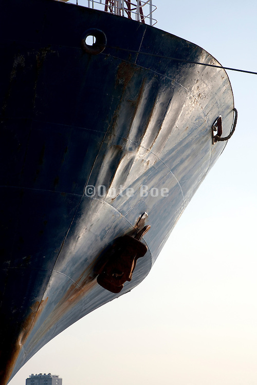 bow of a large commercial ship