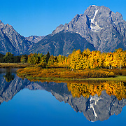 Mount Moran reflects in the Snake River in Grand Teton National Park, Wyoming.