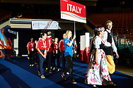 Katowice, Poland - 2017 September 01: Special Olympics Volleyball Team of Italy attend in Opening Ceremony during European Unified Volleyball Tournament 2017 at Spodek Hall on September 01, 2017 in Katowice, Poland.<br /> <br /> Adam Nurkiewicz declares that he has no rights to the image of people at the photographs of his authorship.<br /> <br /> Picture also available in RAW (NEF) or TIFF format on special request.<br /> <br /> Any editorial, commercial or promotional use requires written permission from the author of image.<br /> <br /> Image can be used in the press when the method of use and the signature does not hurt people on the picture.<br /> <br /> Mandatory credit:<br /> Photo by © Adam Nurkiewicz / Mediasport