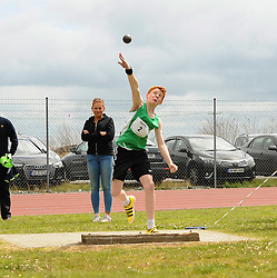 Harry Sheridan from Westport throw the shot putt at Mayo Community Games.<br />