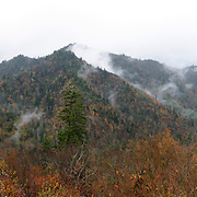 Panorama of Great Smoky Mountains National Park with low clouds, Tennessee