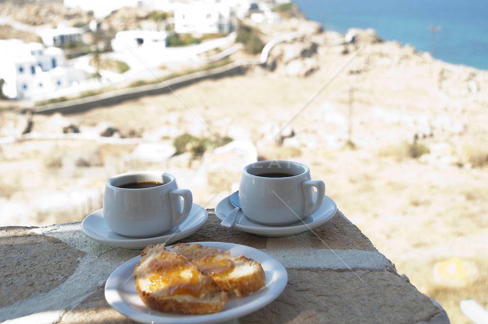 still life of a simple breakfast in Mykonos, Greece