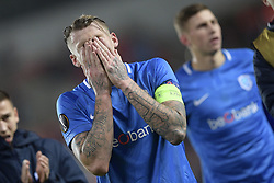 February 14, 2019 - Prague, CZECH REPUBLIC - Genk's Sebastien Dewaest pictured after a soccer game between Czech club SK Slavia Praha and Belgian team KRC Genk, the first leg of the 1/16 finals (round of 32) in the Europa League competition, Thursday 14 February 2019 in Prague, Czech Republic. BELGA PHOTO YORICK JANSENS (Credit Image: © Yorick Jansens/Belga via ZUMA Press)