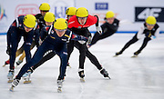 Park Se Yeong of South Korea competes in the Relay Men's 3000 Meters on day three of the 2013 ISU Short Track Speed Skating Junior World Championships at Torwar Ice Hall on February 24, 2013 in Warsaw, Poland...Poland, Warsaw, February 24, 2013...Picture also available in RAW (NEF) or TIFF format on special request...For editorial use only. Any commercial or promotional use requires permission...Photo by © Adam Nurkiewicz / Mediasport