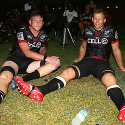 Jacques Vermeulen of the Cell C Sharks with Phillip van der Walt of the Cell C Sharks during The Cell C Sharks Pre Season warm up game 2 Cell C Sharks A and Toyota Cheetahs A,at King Zwelithini Stadium, Umlazi, Durban, South Africa. Friday, 3rd February 2017 (Photo by Steve Haag)