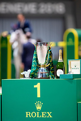 Rolex Podest<br /> Genf - CHI Rolex Grand Slam 2018<br /> Siegerehrung<br /> Rolex IJRC Finale Top 10<br /> 07. Dezember 2018<br /> © www.sportfotos-lafrentz.de/Stefan Lafrentz