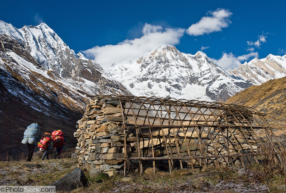 """Porters carry loads past a seasonal herders' shelter towards Annapurna South (23,684 feet / 7219 meters; also known as Annapurna Dakshin, or Moditse), in the Annapurna Sanctuary, Nepal.  Annapurna is Sanskrit for """"Goddess of the Harvests."""""""