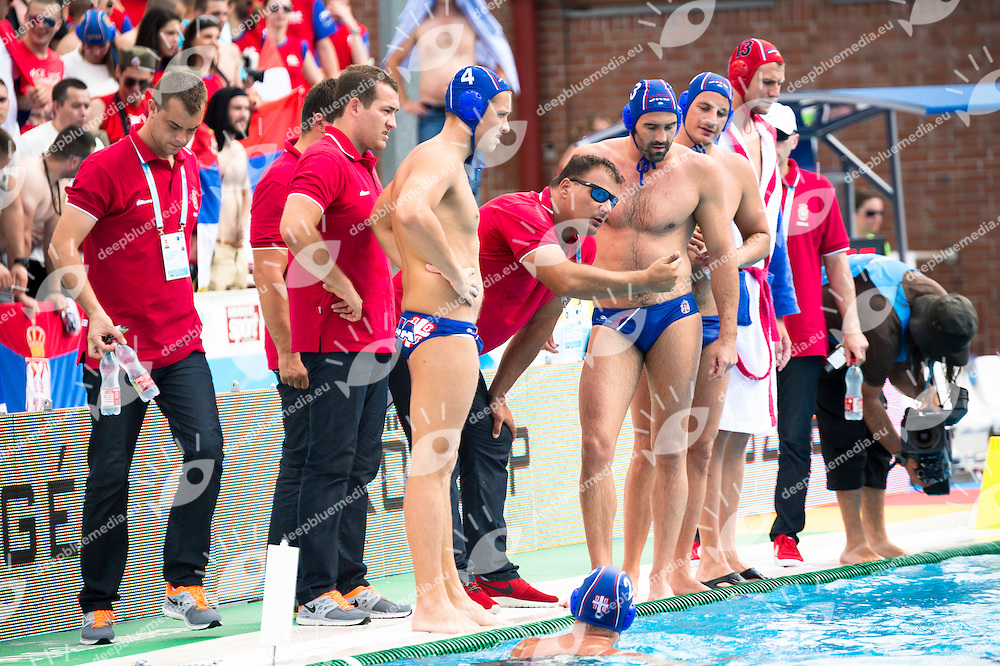Team Serbia<br /> CRO (white) vs SER (blue) Men<br /> LEN European Water Polo Championships 2014 - July 14-27<br /> Alfred Hajos - Swimming Complex<br /> Margitsziget - Margaret Island<br /> Day06 - July 19 <br /> Photo G. Scala/Inside/Deepbluemedia
