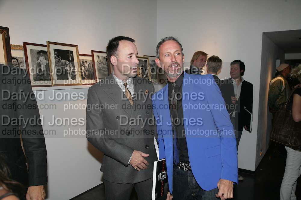 David Furnish and Patrick Cox, Michael Roberts - book launch party hosted by Vanity Fair to celebrate  publication, Shot In Sicily. Hamiltons Gallery, 13 Carlos Place, London,17 September 2007. -DO NOT ARCHIVE-© Copyright Photograph by Dafydd Jones. 248 Clapham Rd. London SW9 0PZ. Tel 0207 820 0771. www.dafjones.com.
