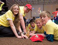 Aine Keaveney, Shane Curran, Eoin Shaefter, Chloe Lydon and Rhys Plower from Moycullen NS at the Medtronic Community Event , comprising of projects about Healthy Living and the heart, KNEX finals and Lean Sigma catapult competition organised by the Galway Education Centre at the Radisson Blu Hotel Galway. Photo:Andrew Downes.