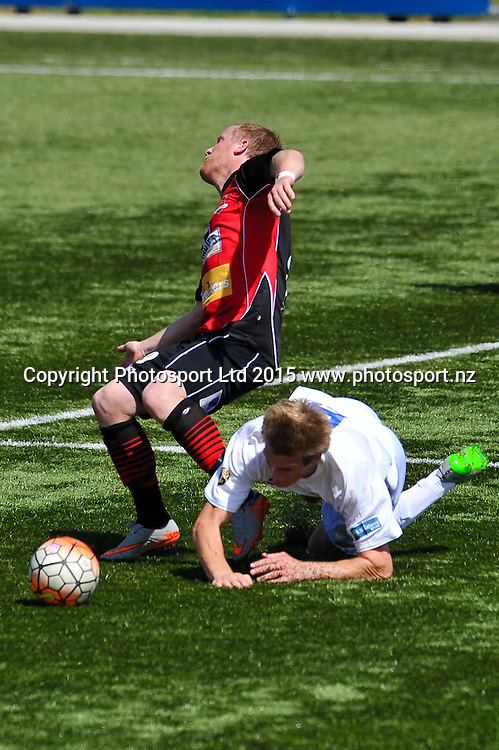 Michael White of Canterbury United is tackled by Andrew Ridden of Southern United during the ASB Premiership Football match, Canterbury V Southern United, at English Park, Christchurch. 28th Febuary 2016. Copyright Photo: John Davidson / www.photosport.nz
