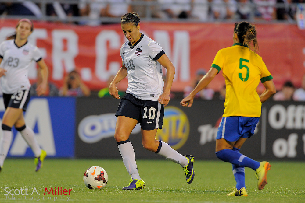 U.S. midfielder Carli Lloyd (10) in action during the United States' 4-1 win over Brazil in an international friendly at the Florida Citrus Bowl on Nov. 10, 2013 in Orlando, Florida. <br /> <br /> &copy;2013 Scott A. Miller