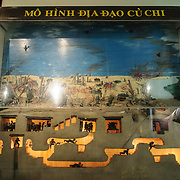 A small exhibit showing a cutaway of the Cu Chi Tunnels complext during the Vietnam War at the Vietnam Military History Museum. The museum was opened on July 17, 1956, two years after the victory over the French at Dien Bien Phu. It is also known as the Army Museum (the Vietnamese had little in the way of naval or air forces at the time) and is located in central Hanoi in the Ba Dinh District near the Lenin Monument in Lenin Park and not far from the Ho Chi Minh Mausoleum.