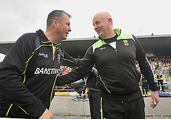 Sligo manager Niall Carew and Mayo's Pat Holmes shake hands at full-time.<br />  Pic Conor McKeown