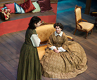 "Calista Morris as Jo March and Zoe Cygan as Mrs. March during Monday evening's dress rehearsal for ""Little Women"" at the Winnipesaukee Playhouse in Meredith.   (Karen Bobotas/for the Laconia Daily Sun)"