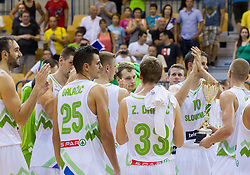 Players of Slovenia with a trophy for 1st place at Lasko tournament after the friendly match between National teams of Slovenia and Turkey for Eurobasket 2013 on August 4, 2013 in Arena Zlatorog, Celje, Slovenia. (Photo by Vid Ponikvar / Sportida.com)
