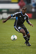 San Jose Earthquakes Nana Attakora (23 Black) in MLS preseason tournament action at Portland, Oregon's Jeld Wen Field against Sweden's AIK. The game ended in a 0-0 draw.
