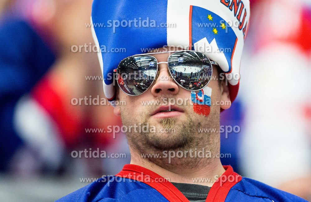 Fan of Slovenia during Ice Hockey match between Belarus and Slovenia at Day 2 in Group B of 2015 IIHF World Championship, on May 2, 2015 in CEZ Arena, Ostrava, Czech Republic. Photo by Vid Ponikvar / Sportida