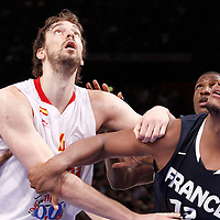 15 July 2012: Pau Gasol of Team Spain vies for the rebound with Boris Diaw of Team France during a pre-Olympic exhibition game won 75-70 by Spain over France, at the Palais Omnisports de Paris Bercy, in Paris, France.