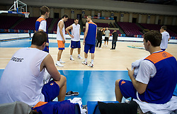 Primoz Brezec, Jurica Golemac, Goran Jagodnik, Bostjan Nachbar and Goran Dragic  at practice of Slovenian National Basketball team in Arena Torwar two days before the beginning of the Eurobasket 2009, on September 05, 2009 in Warsaw, Poland. (Photo by Vid Ponikvar / Sportida)