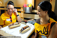 2012 April 29 - Yelp Eat the Heat competition at MLT pitted the biggest mouths and biggest appetites in a three round competition to eat spicy Miami Heat cheese steak sandwiches, Miami Beach, Florida. (Photo by: www.photobokeh.com / Alex J. Hernandez) This image is copyright PhotoBokeh.com and may not be reproduced or retransmitted without express written consent of PhotoBokeh.com. ©2012 PhotoBokeh.com - All Rights Reserved